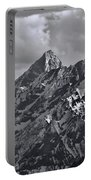 Black And White Grand Teton Detail Portable Battery Charger