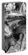 Black And White Hibiscus Portable Battery Charger