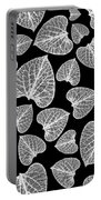 Black And White Leaf Abstract Portable Battery Charger