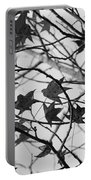Black And White Leaves Portable Battery Charger
