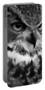 Black And White Owl Painting Portable Battery Charger