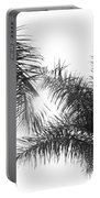 Black And White Palm Trees Portable Battery Charger