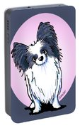 Black And White Papillon Portable Battery Charger