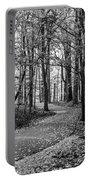 Black And White Path In Autumn  Portable Battery Charger