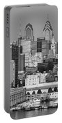 Black And White Philadelphia - Delaware River Portable Battery Charger