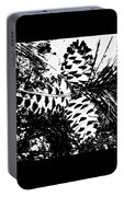 Black And White Pine Cone Portable Battery Charger