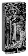 Black And White Railroad Portable Battery Charger
