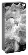 Black And White Rhododendron Portable Battery Charger