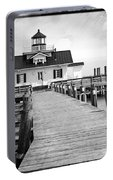 Black And White  Roanoke Lighthouse Portable Battery Charger