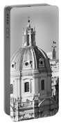 Black And White Rooftop In Rome Portable Battery Charger
