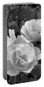 Black And White Roses 1 Portable Battery Charger