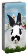 Black And White Spring Bunny Portable Battery Charger