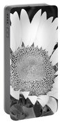 Black And White Sunflower Face Portable Battery Charger