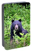Black Bear Eating His Veggies Portable Battery Charger