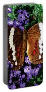 Black Butterfly On Heliotrope Portable Battery Charger