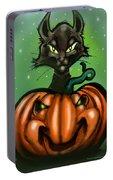 Black Cat N Pumpkin Portable Battery Charger