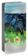 Black Cow Lying Down Painting Portable Battery Charger