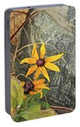 Black Eyed Susans Next Gray And Black Rock Fading Foliage Green 2 10222017 Colorado Portable Battery Charger