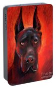Black Great Dane Dog Painting Portable Battery Charger