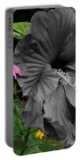 Black Hibiscus Portable Battery Charger