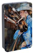 Black Horse And Cowgirl   Portable Battery Charger