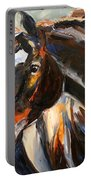 Black Horse Oil Painting Portable Battery Charger