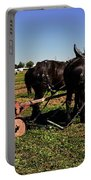 Black Horses With Sulky Plow Two  Portable Battery Charger