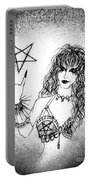 Black Metal Girl. Sofia Metal Queen. Sketch  Portable Battery Charger