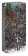 Black Oaks In Snowstorm Yosemite National Park Portable Battery Charger