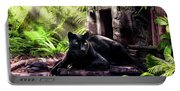 Black Panther Custodian Of Ancient Temple Ruins  Portable Battery Charger