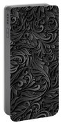 Black Paper Floral Seamless Pattern Portable Battery Charger