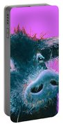Black Pig Painting On Purple Portable Battery Charger