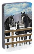 Black Quarter Horses In Snow Portable Battery Charger