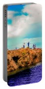 Black Rocks In Summer Portable Battery Charger