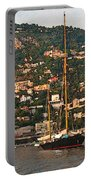 Black Sailboat At Villefranche II Portable Battery Charger