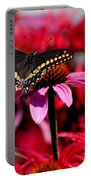 Black Swallowtail Butterfly With Coneflowers And Bee Balm Portable Battery Charger