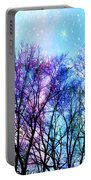 Black Trees Bright Pastel Space Portable Battery Charger