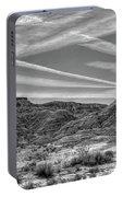 Black White Chem Trails Sky Overton Nevada  Portable Battery Charger