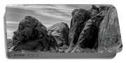 Black White Valley Of Fire  Portable Battery Charger