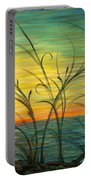 Blazing Sunrise And Grasses In Blue Portable Battery Charger