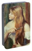 Blonde Girl Combing Her Hair Portable Battery Charger