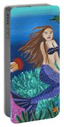 Blonde Mermaid With Purple Tail Portable Battery Charger