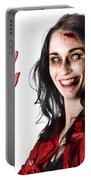 Bloody Zombie Woman With Severed Hand Portable Battery Charger