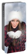Blowing Snow In Winter Portable Battery Charger