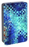 Blue Abstract Art - Pieces 2 - Sharon Cummings Portable Battery Charger