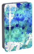 Blue And Aqua Abstract - Wishing Well - Sharon Cummings Portable Battery Charger