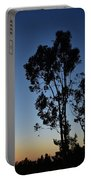 Blue And Gold Sunset Tree Silhouette I Portable Battery Charger