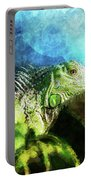 Blue And Green Iguana Profile Portable Battery Charger