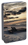 Blue And Orange Sunrise On The Beach Portable Battery Charger