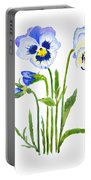 Blue And Purple Pansies  Portable Battery Charger